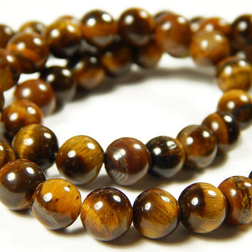 15 Inch Strand - 6mm Round African Roar Tigers Eye Gemstone Beads - Gemstone Beads - Jewelry Supplies