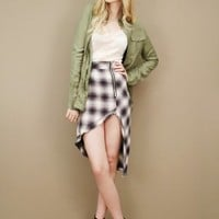 Plaid dame skirt by UNIF with plunging asymmetrical hemline and zipper | shopcuffs.com