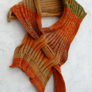 Knitted scarf, knit colorful striped shawl, knitting women men wrap, handmade accessories, orange shawl, knitting neck warmers, clothing