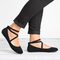 Criss Cross Ballerina Flats - Black
