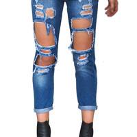 BOYFRIEND RIPPED JEANS DARK DENIM