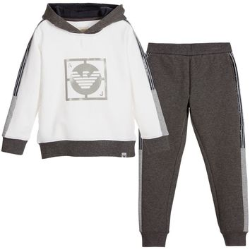 Armani Boys Grey & White Cotton Tracksuit