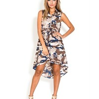 Camouflage High Low Dress