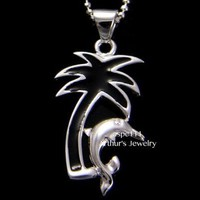 STERLING SILVER 925 HAWAIIAN BLACK ENAMEL PALM TREE SHINY DOLPHIN PENDANT