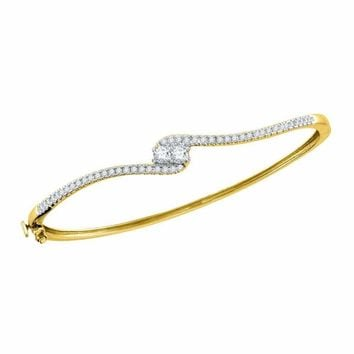 14kt Yellow Gold Women's Round Diamond 2-stone Bypass Bangle Bracelet 3-4 Cttw - FREE Shipping (US/CAN)