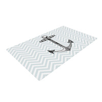 "Suzanne Carter ""Anchor"" Black Blue Woven Area Rug"