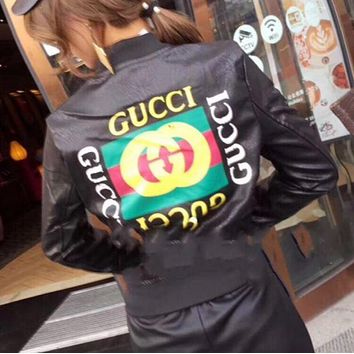 DCCKB62 GUCCI Print Leather Long Sleeve Cardigan Jacket Coat