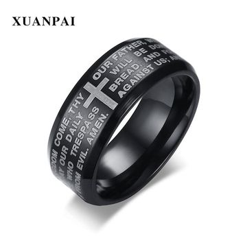 XUANPAI Cross Bible Text Men Rings Stainless Steel 3 Color Prayer Jewelry Cool Punk Finger Ring Male Gift