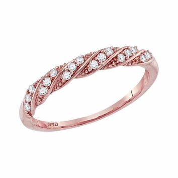 10kt Rose Gold Womens Round Diamond Stripe Stackable Fashion Band Ring 1/8 Cttw
