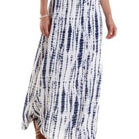 Blue Combo High-Waisted Tie-Dye Maxi Skirt by Charlotte Russe