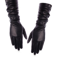 TIMELESS DIOR Timeless Dior' mid-length gloves in black leather