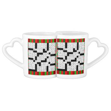 Crossword Puzzle Design on Coffee Mug Set