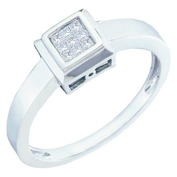 Ladies 14k White Gold 0.10CT Princess Cut Invisible Set Diamond Promise Ring