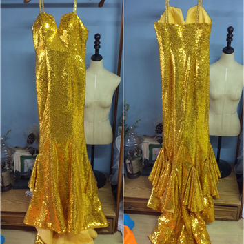 Real Photo Amazing Spaghetti Straps Gold Sequined Mermaid Evening Dress Party Dress Ball Gown O027