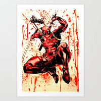 Deadpool watercolor Art Print by Justinart13