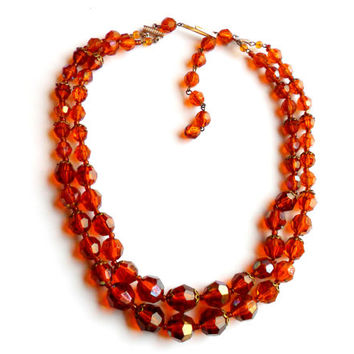 Vintage Amber Orange Bib Necklace Two Strand Bead West Germany Aurora Borealis Plastic Warm Summer Beaded