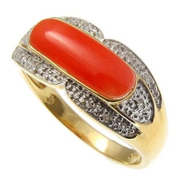 GENUINE NATURAL PINK CORAL DIAMOND SADDLE RING SET IN SOLID 14K YELLOW GOLD