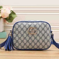 Gucci Stylish Tassel Women Print Leather Satchel Bag Shoulder Bag Crossbody Blue I