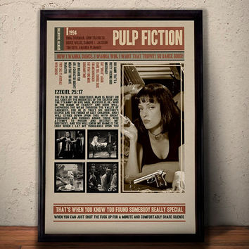 PULP FICTION Movie Poster * Quentin Tarantino Film Quotes Retro Vintage Wall Art Print *  Gift For Him , Gift For Her