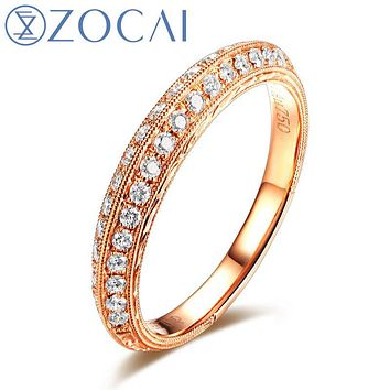 ZOCAI WEDDING BANDS DIAMOND RING GENUINE 0.32 CT DIAMOND 18K ROSE GOLD DIAMOND RING W04549