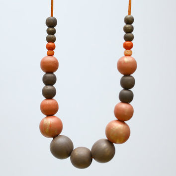 Coral pink and brown wood necklace, salmon color block, large bead necklace fashion, cappuccino brown abstract necklace