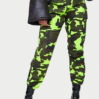 Lime Camo Print Cargo Trousers