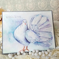 Original Dove Watercolor Card, NOT A PRINT,   Original Handpainted, Fantail Dove, Greeting Card, Dove  Watercolor, With Love, Handmade card