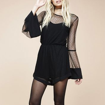minkpink - barroco spotty mesh playsuit / romper - black