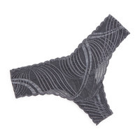 Minoa Low-Rise Lace Thong, Anthracite, Size: ONE SIZE, ANTHRACITE - Cosabella