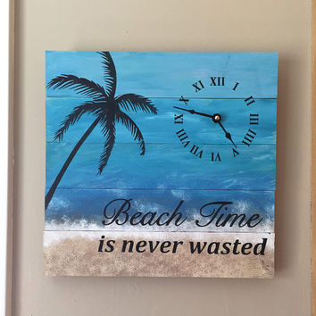 "Beach Sign Wall Clock - 12"" wide beach wall hanging clock - rustic wall clock - Nautical Theme Clock for Beach Cottage or Coastal Decor."