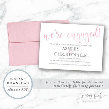 Engagement Party Invitation, Engagement Party Printable, Instant Download Engagement Party Invite, Pink Watercolor Engagement Party Invite