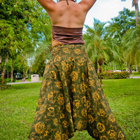 Thai Harem Pants in Cotton, Batik, Forest Green & Ochre in Floral Design (S-XL) one size fits all