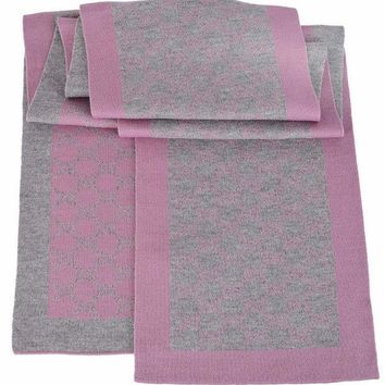CREYON Gucci Women's Grey and Pink GG Guccissima Scarf