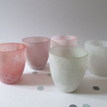 Set Of Five Pastel Frosted Glass Tea Light Holders