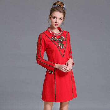 c898c79539b01 Plus Size L-5XL Women Long Sleeve Autumn Dress Embellished Flora