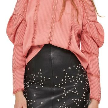Topshop Statement Sleeve Pintuck Blouse | Nordstrom