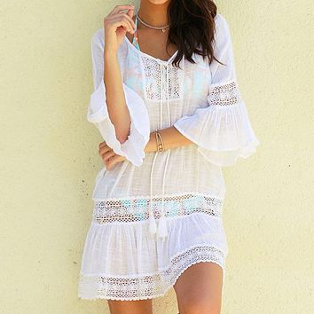 2019 Sexy Cotton Summer Pareo Beach Cover Up Sexy Swimwear Women Swimsuit Cover Up Kaftan Beach Dress Tunic White Beachwear 9396