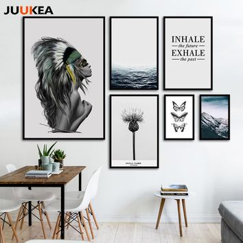 Fashion Landscape Posters Canvas Art Print Painting Wall Pictures For Living Room Nordic Beautiful Girl Butterfly Ocean Plant