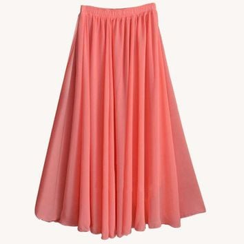 CREYCI7 2017 Fashion Brand Women Top quality Solid Chiffon Long Skirt Elastic Waist A-line Great Maxi Beach Summer Skirts feminino saias