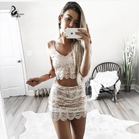 Fashion Striped Sequin 2 pcs Women Dress 2016 Sexy Sleeveless v Neck Mini Summer Dress Shiny Sequined Short Casual Party Dress