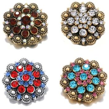 Vintage Retro Gold Snap Buttons Full Rhinestone Stone Buttons Fit 18mm/20mm DIY Luxury Snap Bracelet Buttons Jewelry