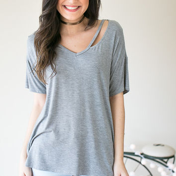 Cut It Out Basic Bamboo Top - Grey