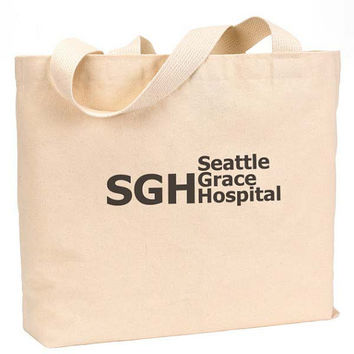 "SGH Seattle Grace Hospital Canvas Jumbo Tote Bag 18""w x 11""h"