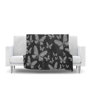 "Snap Studio ""Butterflies III"" White Chalk Fleece Throw Blanket"