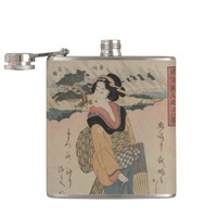 Evening Rain at Karasaki Vintage Art Flask