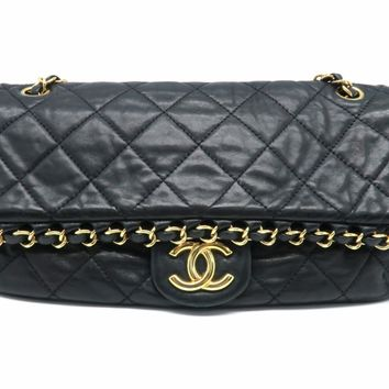 Chanel Quilted Calfskin Leather Chain Me GHW Chain Shoulder Bag Black