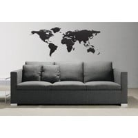 "Stickerbrand© Home Décor Vinyl Wall Art World Map of Earth Wall Decal Sticker - Black, 21"" X 51"". Easy to Apply & Removable. Includes FREE Application Squeegee"