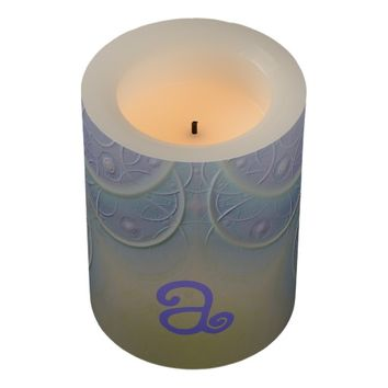 Pale Lavender Designed Monogram Flameless Candle
