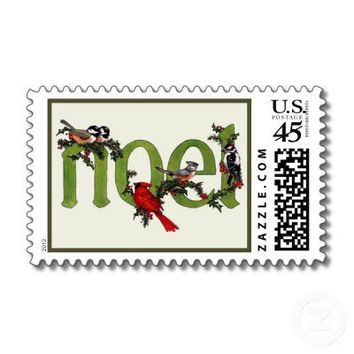 Noel Winter Birds Cardinal Christmas Holiday Stamp from Zazzle.com