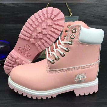 Timberland Rhubarb boots for men and women shoes waterproof Martin boots lovers Pink-white pink soles-1
